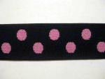 "1"" Black Elastic Webbing with Pink Polka-Dots"