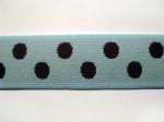 "1"" Pastel Blue Elastic Webbing with Brown Polka-Dots"