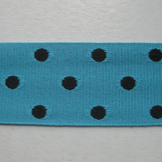 "7/8"" Turquoise with Black Spots Ribbon"